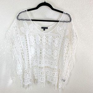 Lane Bryant White Crochet Lace Fringe Trim Top